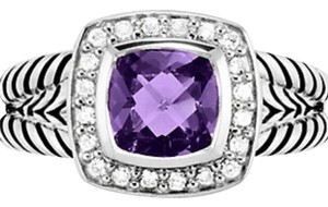 David Yurman David Yurman Petite Albion Ring with Amethyst and Diamonds