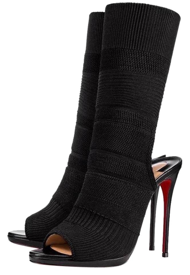 aba0c0210c42 Christian Louboutin Black Cheminene Maille 120mm Knit Sock Heels Booties  B161 Pumps