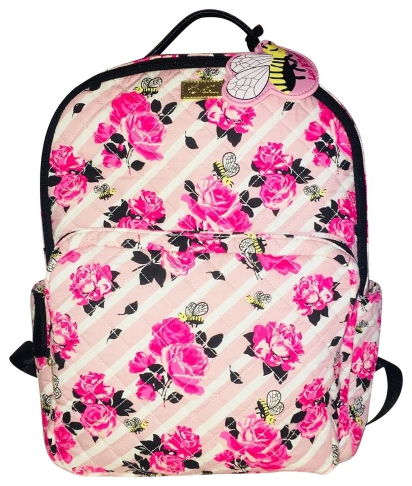 e7ccaf4c1b Betsey Johnson Blush Heart Quilted Stripe Pink Fabric Backpack - Tradesy