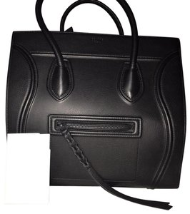Céline Satchel in black , black zipper