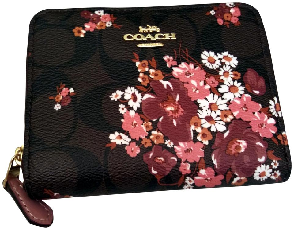 059bf3168156 Coach Brown Small Floral Zip Around Wallet - Tradesy