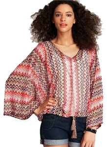 Sanctuary Clothing Hippie Chic Boho Bohemian Dolman Batwing Top Rhubarb Stripe