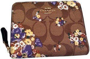 Coach SMALL FLORAL ZIP AROUND WALLET