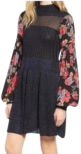 Item - Blue Floral Sleeve Mid-length Casual Maxi Dress Size 8 (M)