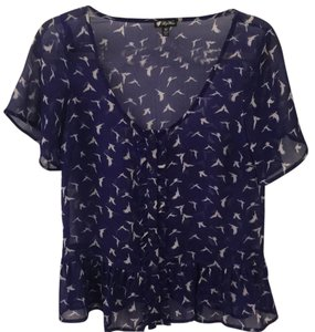 Lily White Top blue with white birds