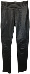Emporio Armani Leather Fitted Skinny Pants black
