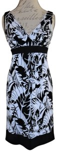 City Triangles short dress Black, White Abstract Stretchy Leaves Palm on Tradesy