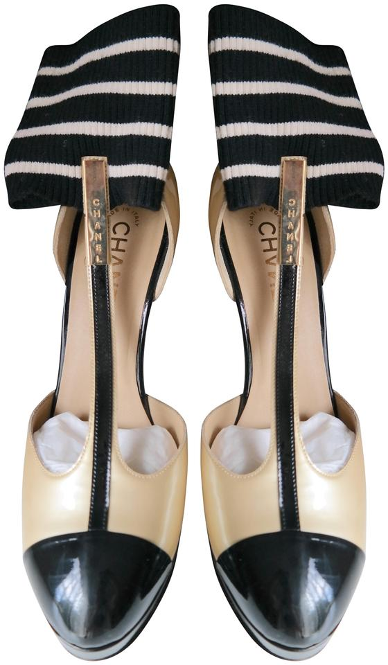 7b774118c704 Chanel Black Beige T-strap Pumps Size EU 40 (Approx. US 10) Regular ...