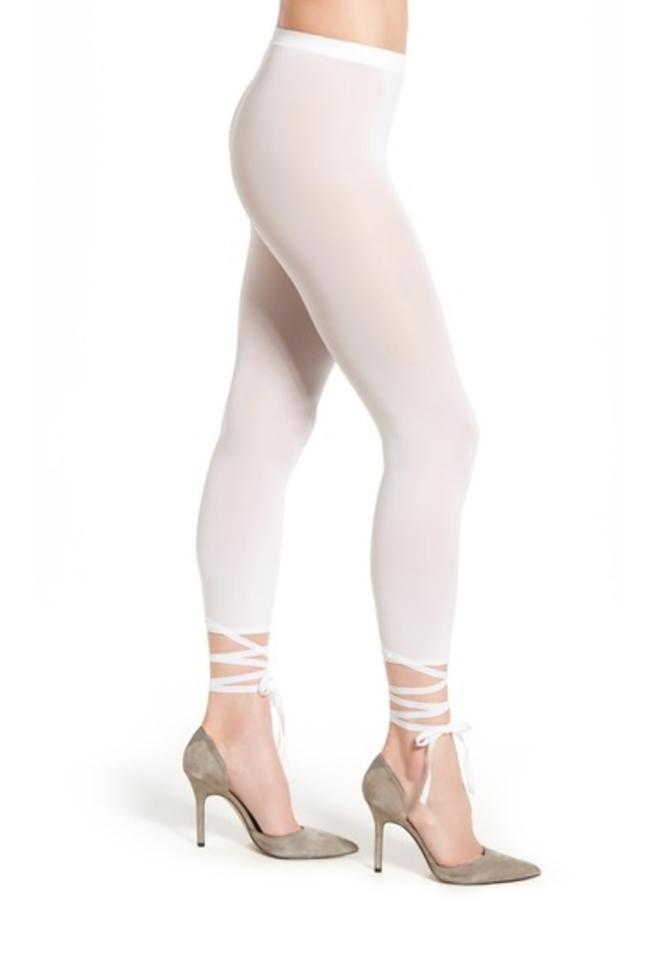 a2ee3996e Wolford White Lace Up Capri Tights Leggings Size 12 (L
