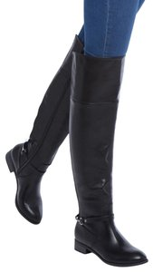 ShoeDazzle Rider Over The Knee Riding Buckle Black, silver Boots