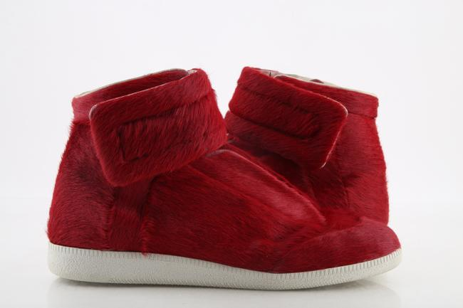 Item - Red Calf Hair High-top Sneakers Shoes