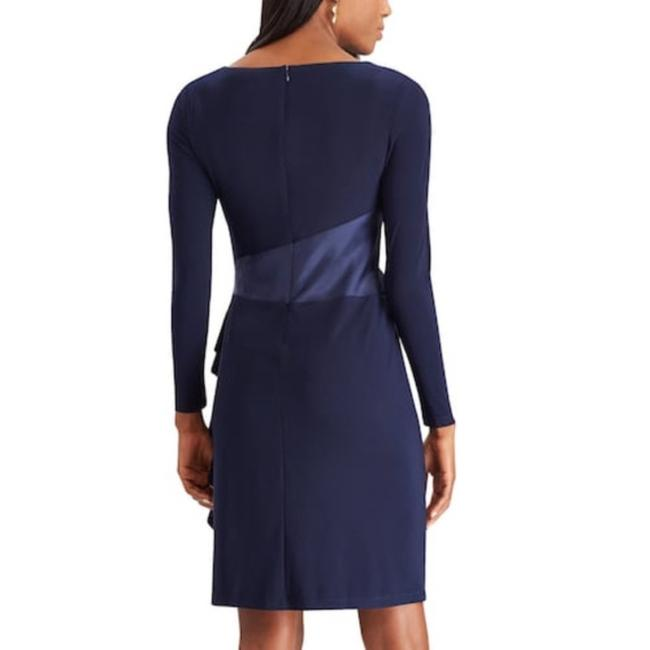Chaps Ruffle Evening Long Sleeves Lined Dress