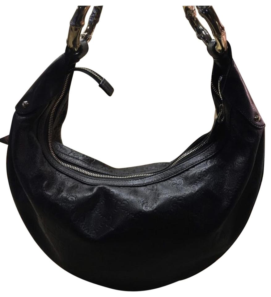 3aeaa1885 Gucci With Gold Rings Black Leather Hobo Bag - Tradesy