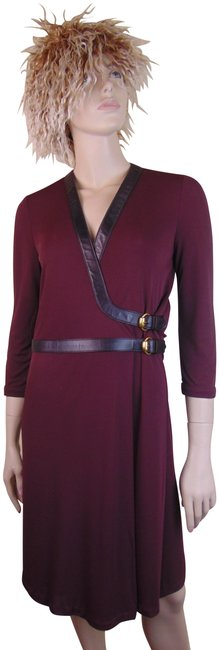 Item - Burgundy Wine Viscose Black Leather 2x Belted Buckle 40 Italy 2k Mid-length Cocktail Dress Size 4 (S)