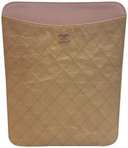 Chanel Authentic Chanel Gold Leather Quilted iPad case