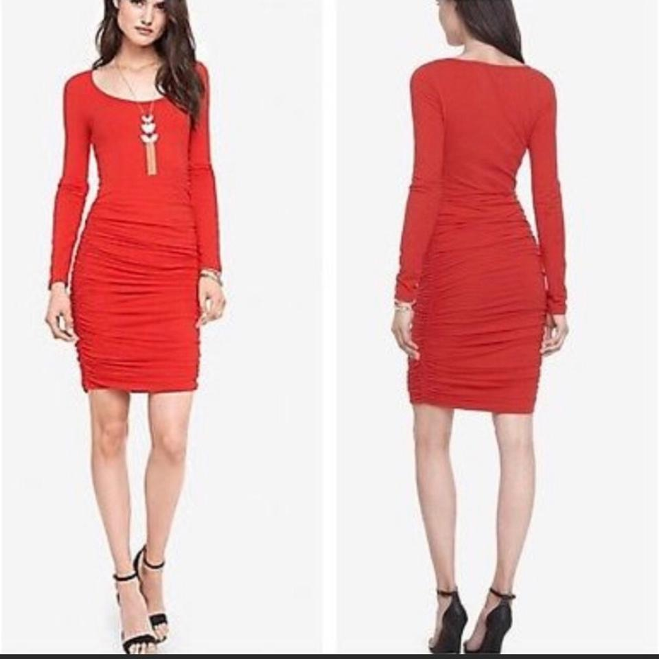 Red XS Ruched Long Sleeve Mid-length