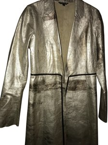 Rozae Nichols Metallic Fall Sparkle Gold Leather Jacket