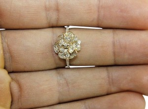 Other Flower Rose Diamond Cluster Cocktail Ring 14k Yellow Gold .45Ct