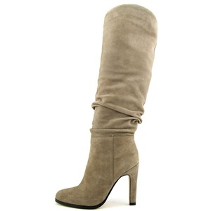 Ivanka Trump Suede Leather Ruched Grey Boots