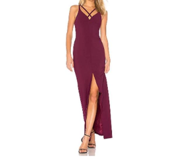 Preload https://img-static.tradesy.com/item/24180717/likely-plum-leslie-strappy-v-neck-front-slit-gown-women-s-long-cocktail-dress-size-4-s-0-0-650-650.jpg