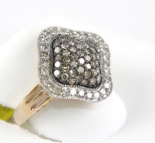 Other Fancy Pave Brown Diamond Cluster Clover Lady's Ring 14K RG 1.00Ct