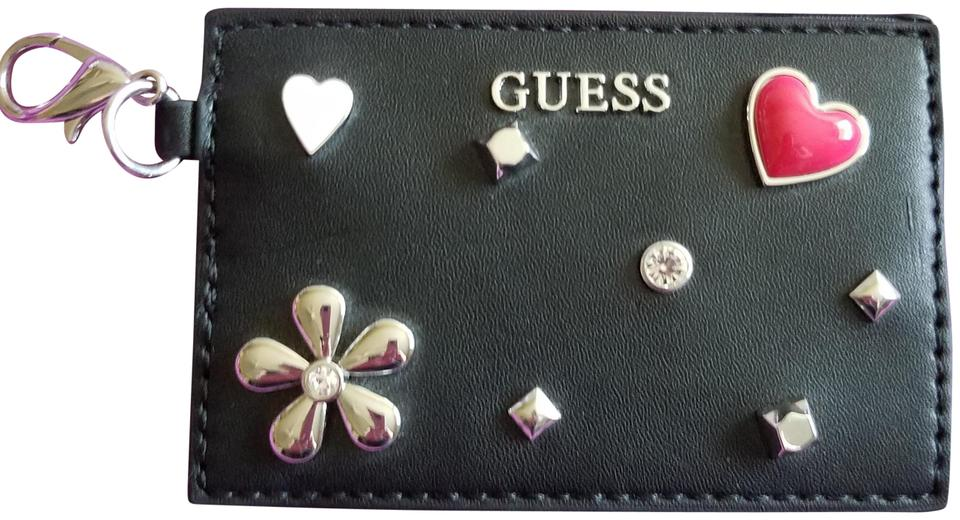 new concept 02d49 340c2 Guess Black Mini Credit Card Holder with Clip and Charms Wallet