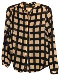 MICHAEL Michael Kors Button Down Shirt Black and cream with Golden charms and details.