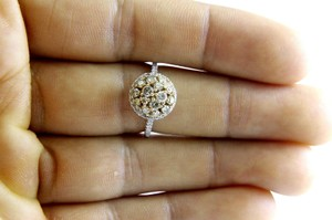 Other Fancy Yellow Round Diamond Cluster Lady's Ring 14k White Gold 1.00Ct