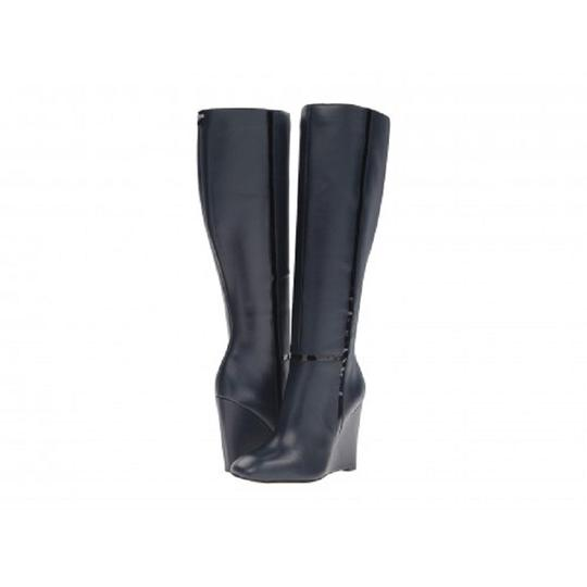 Calvin Klein Leather Patent Wedge Tall Navy Blue Boots