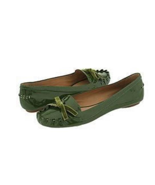 Item - Basil Green Lacey Patent Leather Driving Moccasins Flats Size US 7 Regular (M, B)