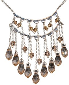 Chan Luu CRYSTAL DROP CASCADE PENDANT SILVER TONE STATEMENT NECKLACE
