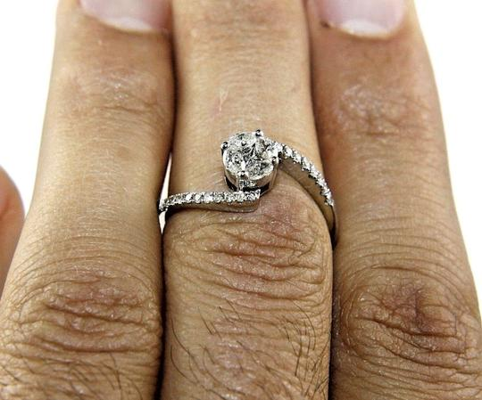 Other Marquise Round Diamond Cluster Solitaire Bypass Ring 14k WG .54Ct