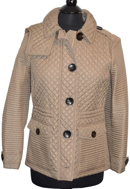 Item - Mid Taupe London Quilted Check Hooded Coat Jacket Size 8 (M)