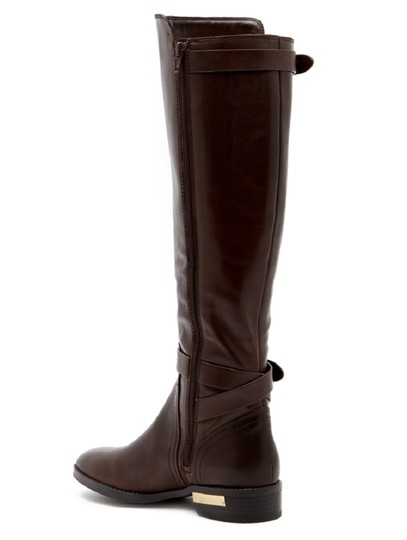 Vince Camuto Leather Tall Riding Ankle Strap Brown Boots Image 1