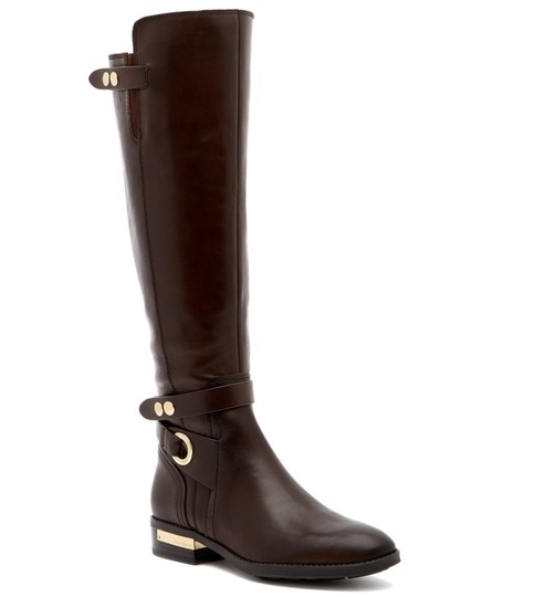 Vince Camuto Leather Tall Riding Ankle Strap Brown Boots Image 3