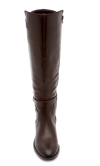 Vince Camuto Leather Tall Riding Ankle Strap Brown Boots Image 8