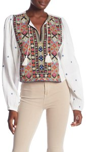 Free People Cotton Crop Longsleeve Embroidered Tassels Top ivory