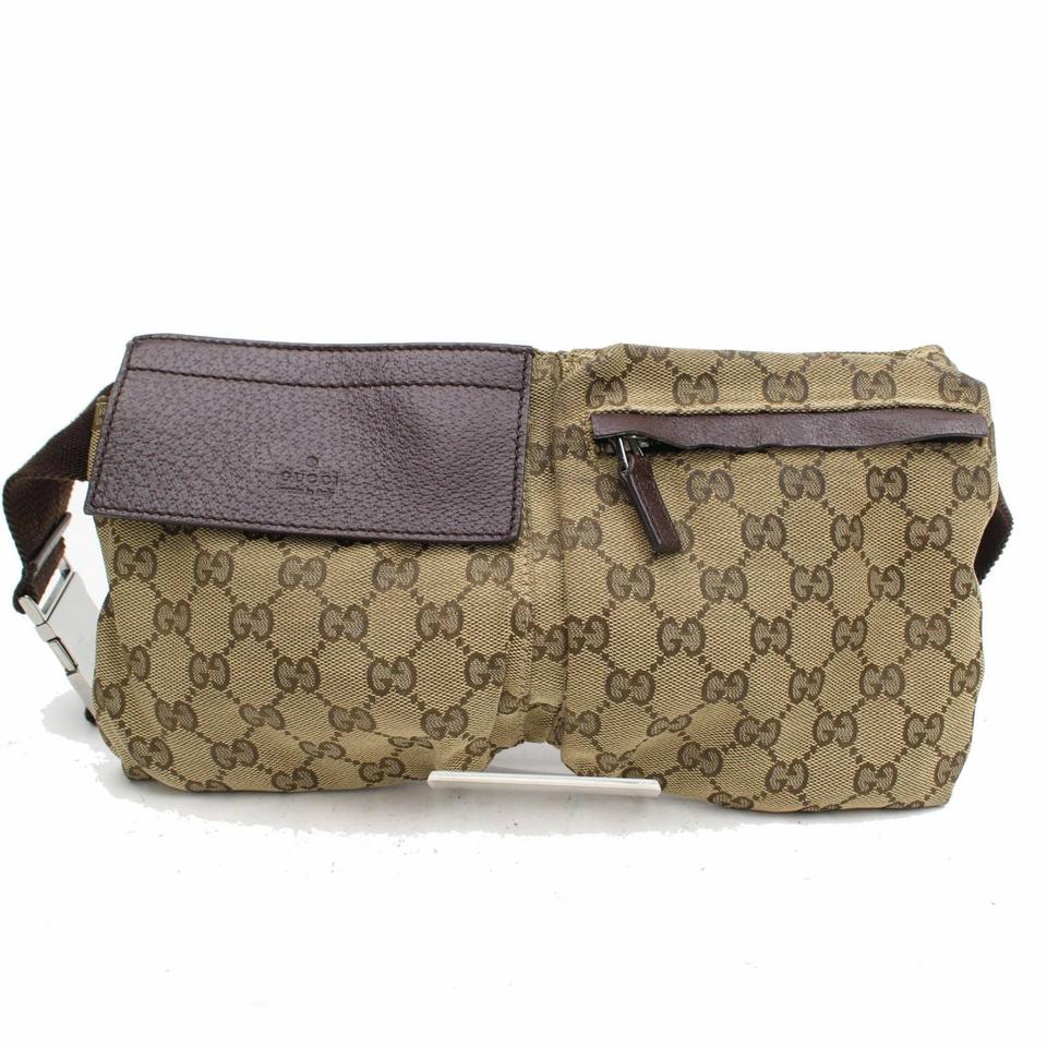33e31f5170249b Gucci Monogram Gg Waist Pouch Fanny Pack 868298 Brown Canvas Cross ...
