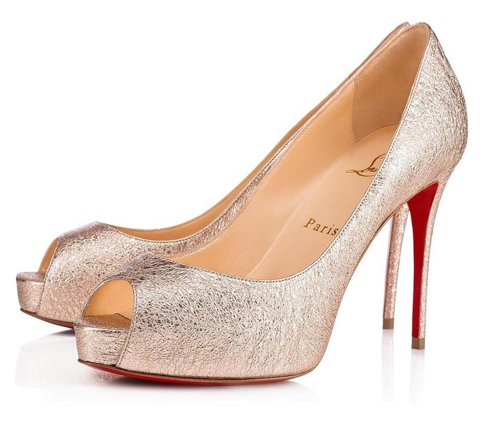 info for 89277 b7c5a Christian Louboutin Gold New Very Prive Rose 100mm Specchio Leather Peep  B173 Pumps Size EU 37 (Approx. US 7) Regular (M, B) 32% off retail