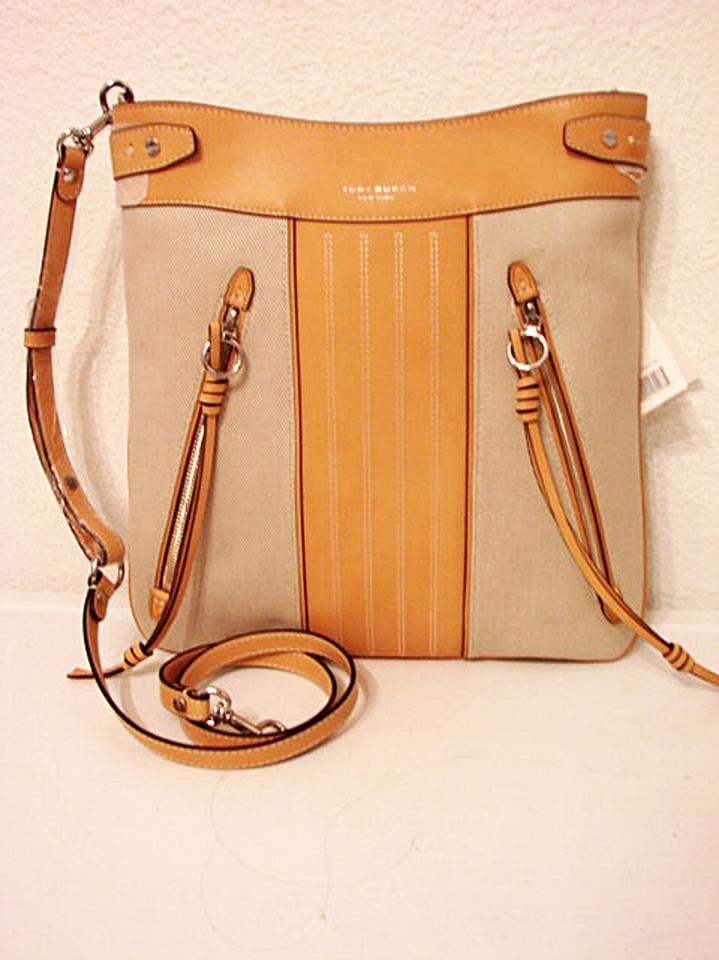 21abe39dcd0 Tory Burch Moto Tall Canvas Leather Swingpack Natural Canvas Leather Cross  Body Bag