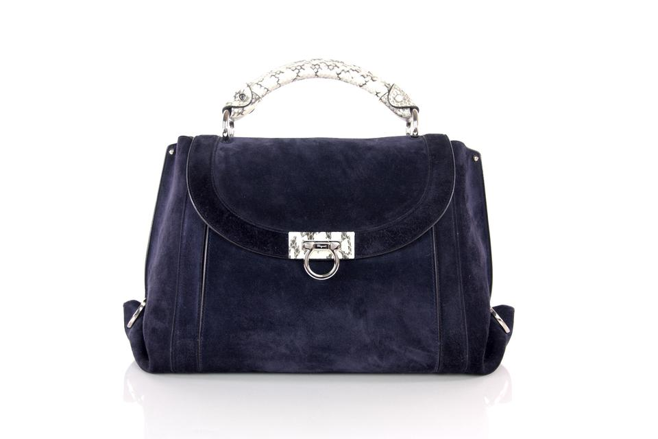 e3898cacc5b2 Salvatore Ferragamo Soft Sofia Large White Snakeskin Trim Crossbody Navy  Suede Leather Satchel