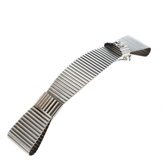 Chanel CC Textured Double Bow Silver Tone Barrette Hair Clip