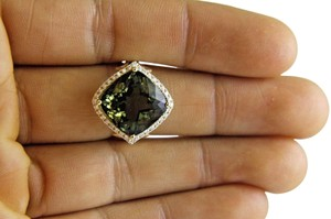 Other Cushion Cut Green Tourmaline & Diamond Solitaire Ring 14k YG 10.31Ct