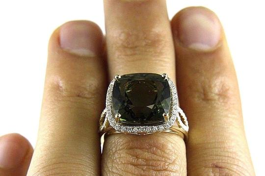 Other Cushion Green Tourmaline & Diamond Solitaire Ring 14k Yellow G 9.09Ct