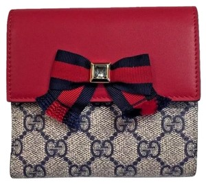 Gucci Grosgrain Gg Supreme French Flap Wallet Bow w/Swarovski Crystal