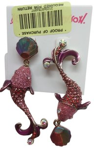 Betsey Johnson Betsey Johnson New Mismatch Hot Pink Dolphin Earrings