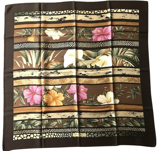 Preload https://img-static.tradesy.com/item/24181365/salvatore-ferragamo-brown-multi-green-yellow-flower-motif-silk-printed-scarfwrap-0-1-540-540.jpg