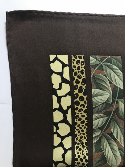 Salvatore Ferragamo Salvatore Ferragamo Brown Green Yellow Flower Motif Silk Printed Scarf