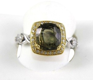 Other Green Tourmaline & Diamond Solitaire Ring 18k 2 Tone Gold 3.60Ct