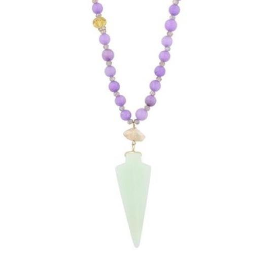 Preload https://img-static.tradesy.com/item/24181410/purple-and-green-stone-beaded-mint-necklace-0-0-540-540.jpg